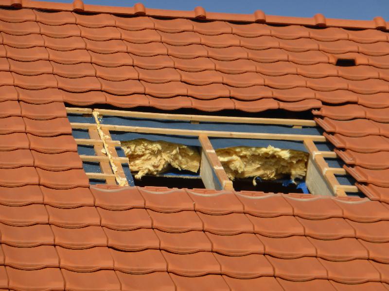 opening in het dak gemaakt